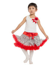 Wholesale New toddler baby suit Solid sequin pettiskirts Girls tutu set Top +Skirt Baby Girls Party Skirts Kids clothes set(China (Mainland))