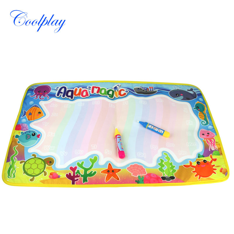 Coolplay 59x36cm multicolor rainbow water drawing mat with 2 pen aqua doodle mat rug for painting Xmas gift for kids CP2323-2(China (Mainland))