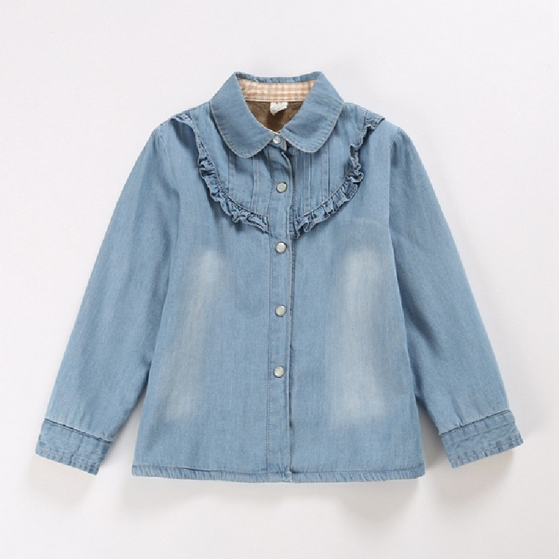 Kids Denim Shirs 216 Winter Children's Casual Shirt Cotton Solid Color Girls thickening Blouse 2016 Long Sleeve Child Blouses