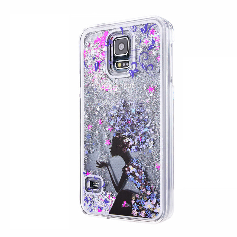 Tree Girl Patterned Glitter Quicksand Liquid Case Clear Protective Hard Back Case Cover+Stylus For Samsung S5 i9600