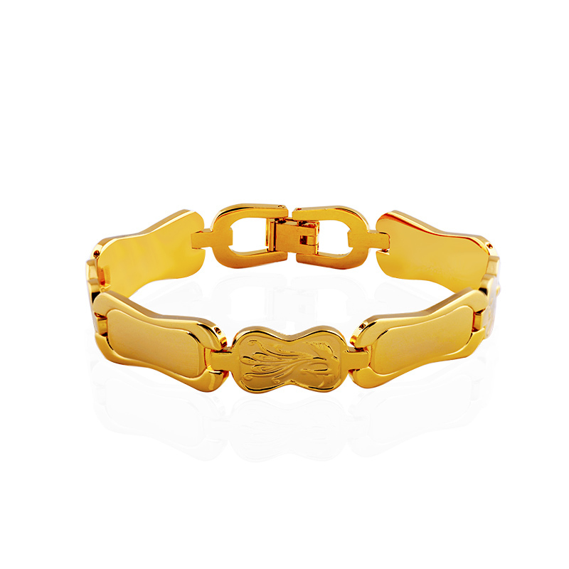 """HB Gold Bracelet Men Jewelry 2015 New Trendy """"18K"""" Stamp 18K Real Gold Plated Round 22 cm Chain & Link Bracelets & Bangles!602(China (Mainland))"""