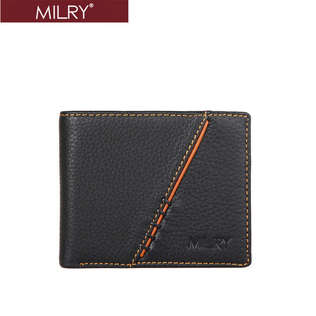 2013 fashion new  Brand MILRY 100% Genuine Leather Wallet for men leather purse  Money Clip Black with free gift box MC0220