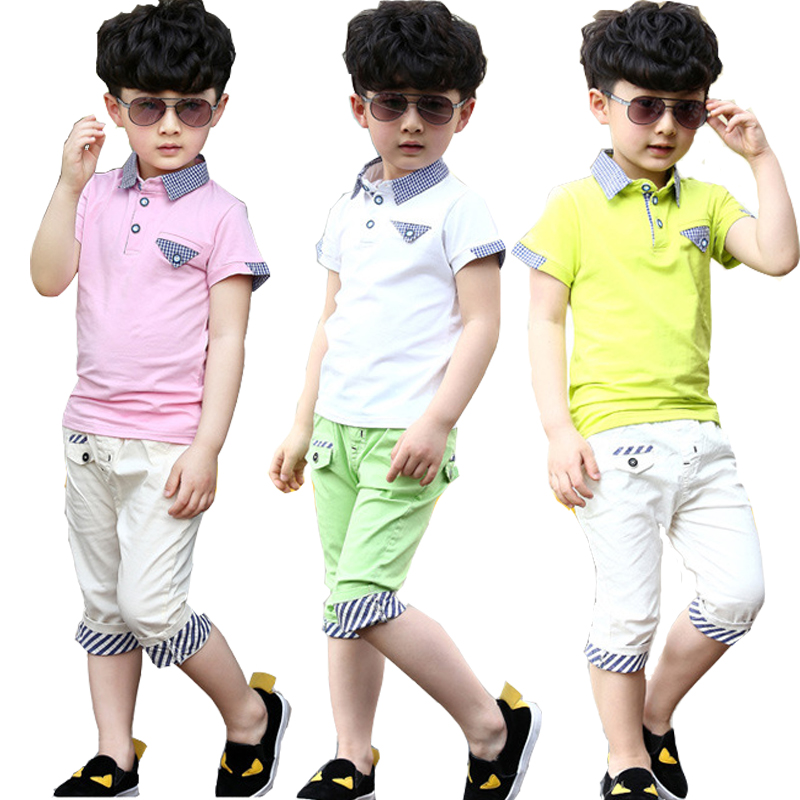 Children's wear boy's summer 2015 children new T-shirt with short sleeves cuhk child grid shorts suit tide boy clothes sets(China (Mainland))