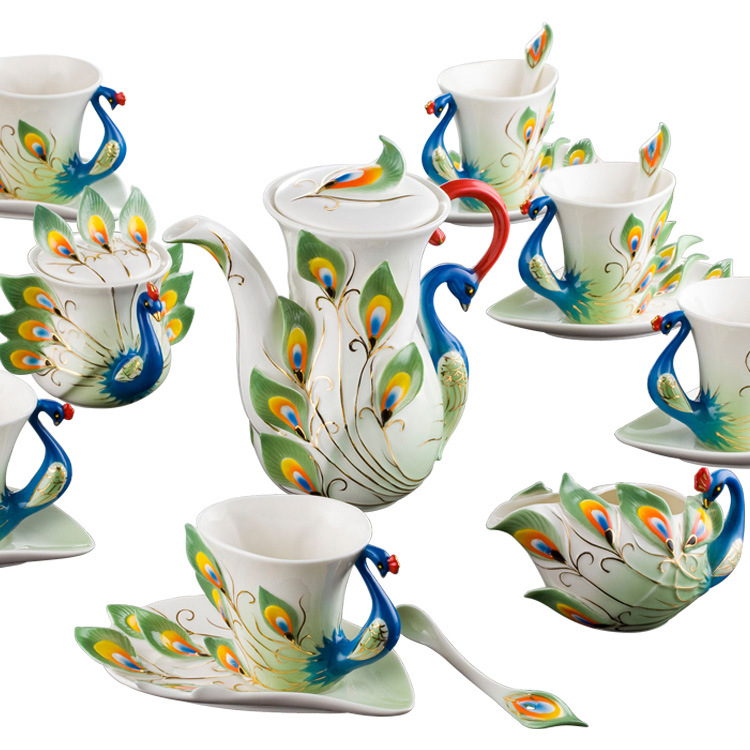 drinkware sets coffee cup set 21pcs sets high grade porcelain peacock Coffee suit European wedding gifts
