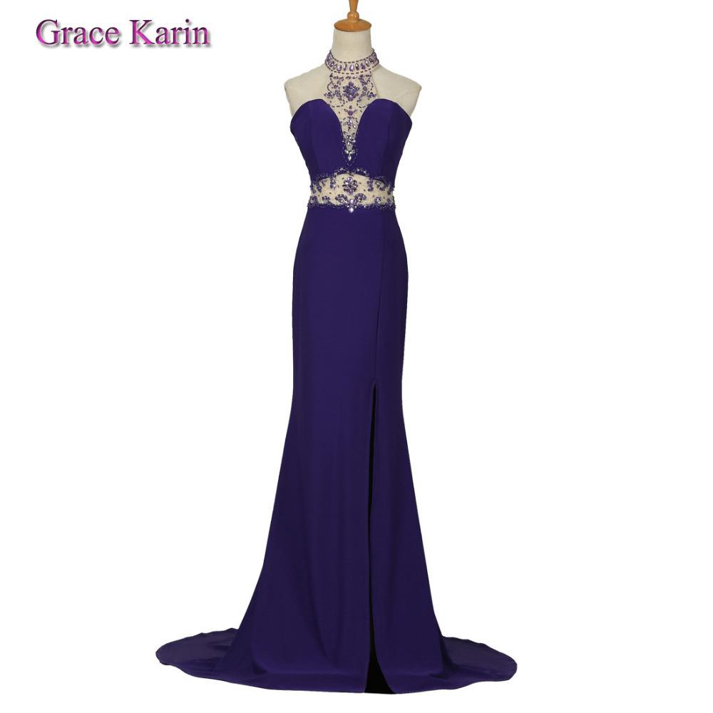 2015 nieuwe lange paars avondjurk halter en zien door taille designer hoge split voor formele mermaid jurken voor vrouwen(China (Mainland))