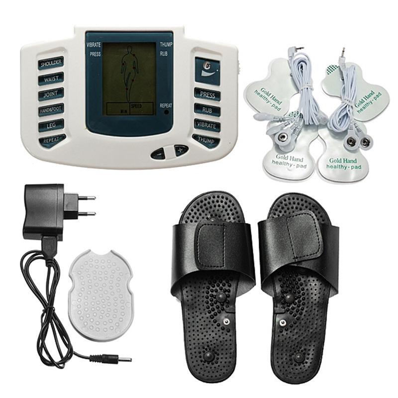 Multifunctional Electronic Foot Massager LCD Body Massage Therapy Machine with Foot Slipper Massager Massagem EU Plug K5BO(China (Mainland))