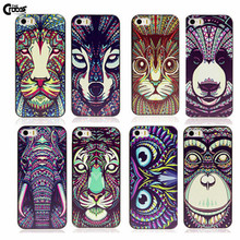 Cute Aztec Animal Elephant Tiger Owl Orangutan Bear Kitten Wolf Painted Cover for iphone 4 4s 5 5s 5c mobile phone accessories