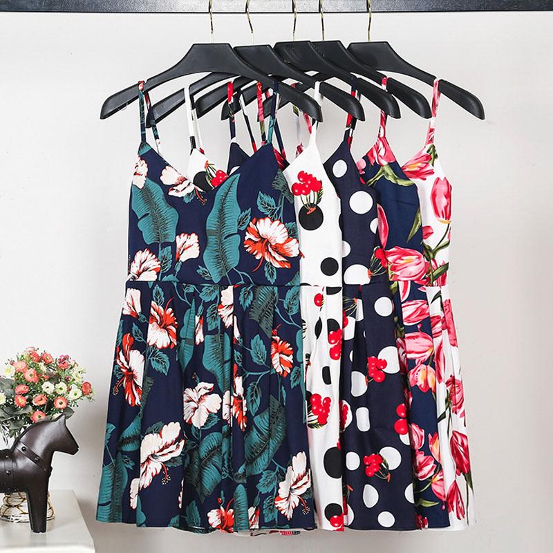 Flash Deal New Floral Print Mini Dress Women Korean Style Cami Summer Dress Female Sexy V Neck Pleated A-Line Beach Cute Dress(China (Mainland))