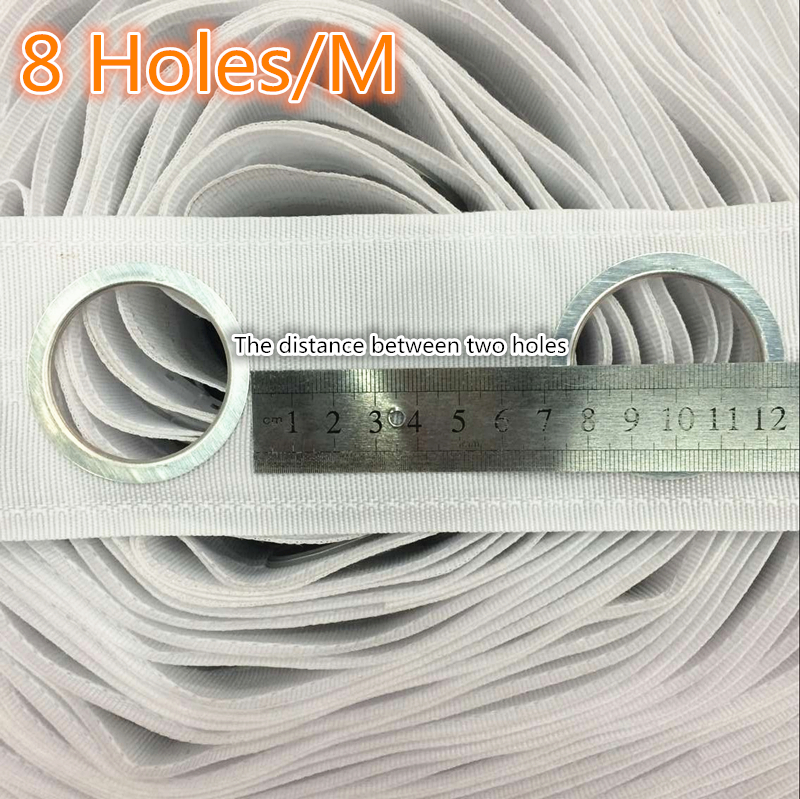 8 Holes/M High quality Curtain accessories polyester white color eyelet curtain tape Contains the curtain ring 5M/roll(China (Mainland))