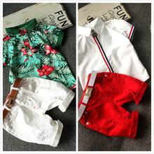 2015 new kids clothing set baby boy cotton t shirt short pants children set for summer boy cartoon clothes fits 2 colors 2-7T(China (Mainland))