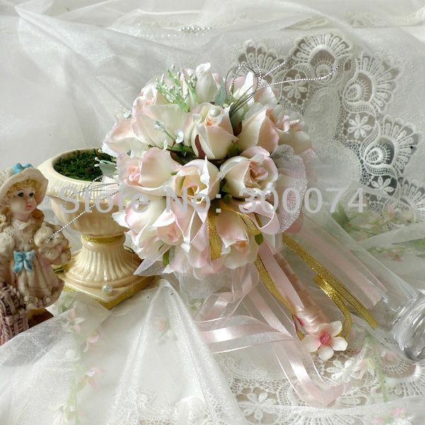 champagne rose bouquet soie artificielle rose fleurs de mari e ou demoiselle d 39 honneur bouquet. Black Bedroom Furniture Sets. Home Design Ideas