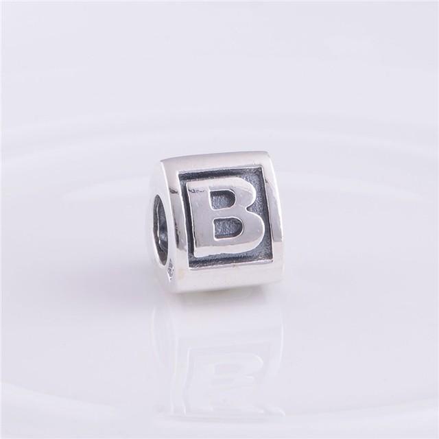 Подходит пандоры прелести браслет 925-Sterling-Silver бусины письмо B треугольной формы европейский шарм женщин DIY ювелирных изделий