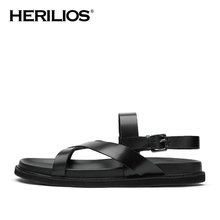 2016 Summer Herilios Men Leather Reel Ist Flat Rome Sandals