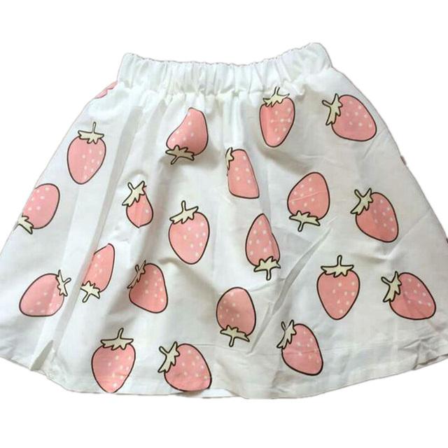 2016 Harajuku лолита клубника печать каваи девочки юбки милый форма лето свободного ...