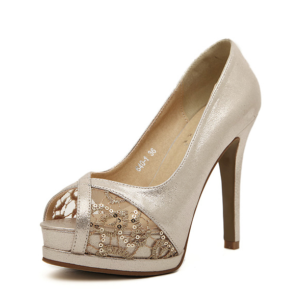 2015 Fashion Women High heels Pumps Peep Toe Sexy Lace Shoes Platform Cone Heels Wedding Dress Shoes Party Shoes(China (Mainland))