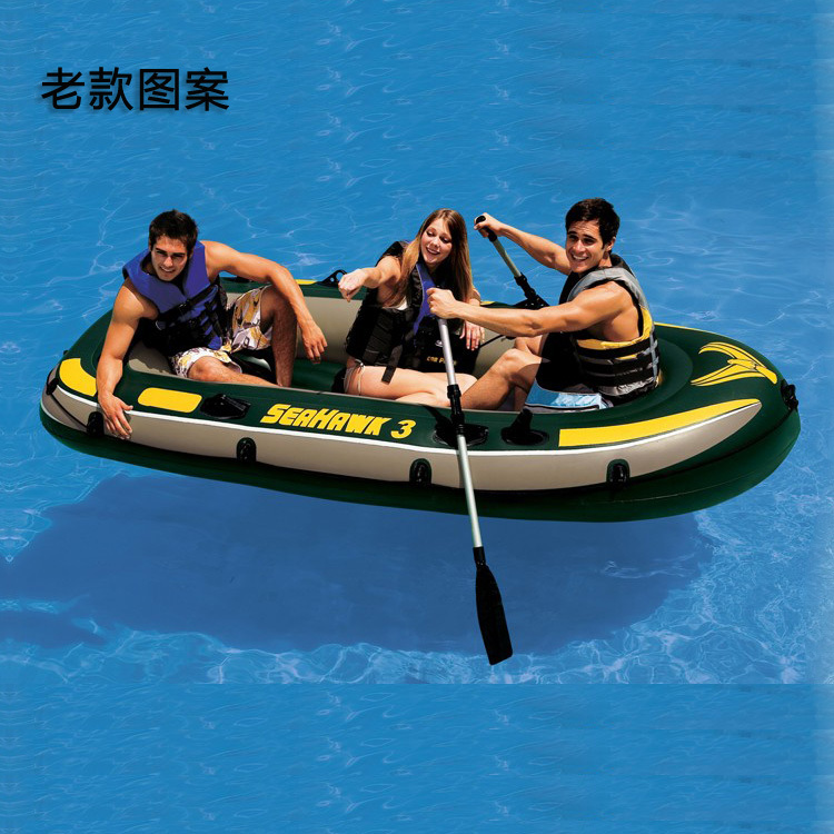 Thickening Intex 68349 seahawks ship inflatable boat fishing boat inflatables hovercraft for 3 people with paddle and handpump(China (Mainland))