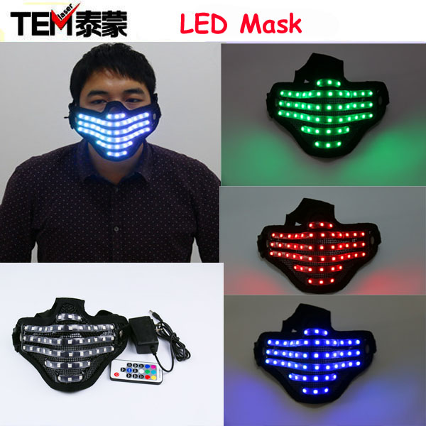 Free shipping LED RGB Mutilcolor Light Mask Hero Face Guard DJ Mask Party Halloween Birthday LED Colorful Masks for show(China (Mainland))