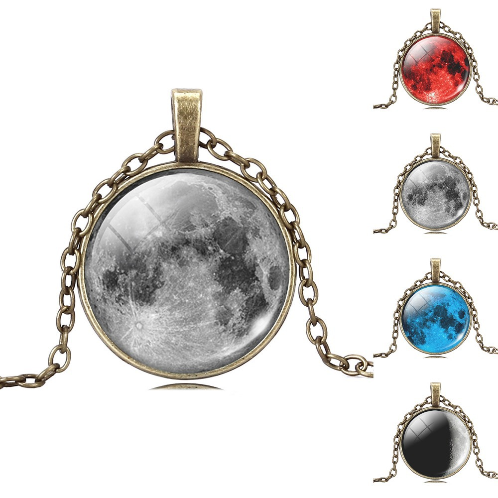 Fashion Art Picture Statement Necklace Vintage Moon Bronze Necklace&Pendant for Women Summer Style Fine Jewelry(China (Mainland))