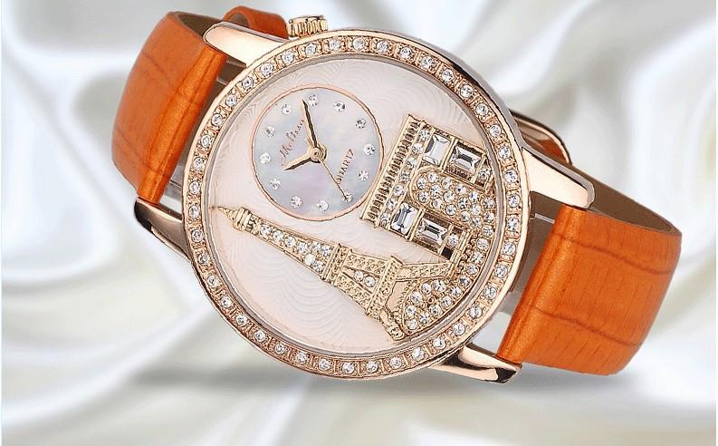 Melissa Lady Wrist Watch Quartz Hours Women's Fashion Bracelet Leather Luxury Rhinestones Birthday gift Eiffel Tower Triumphal