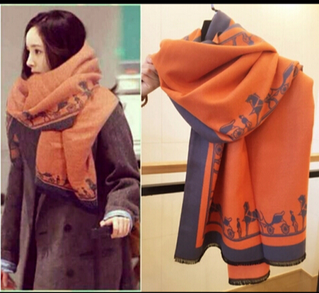 H Fashion carriage solid color cashmere scarf ultra long cape dual female autumn and winter thickening all-match(China (Mainland))