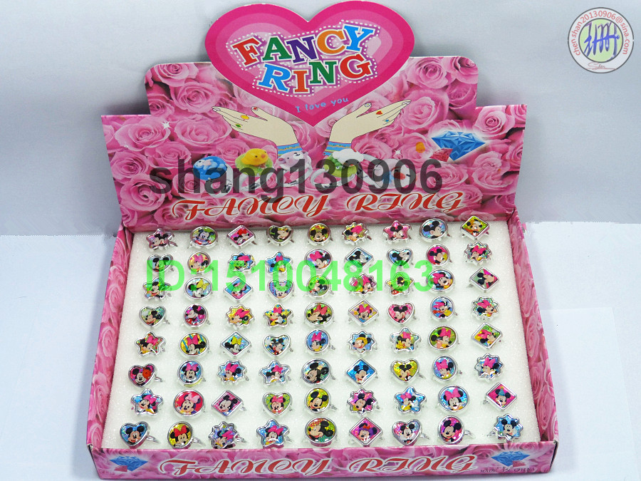 Free Shipping Supper Cheap Price Mickey &Minnie Mouse Acrylic Children Rings Fashion vendor (1 box=72pcs)(China (Mainland))