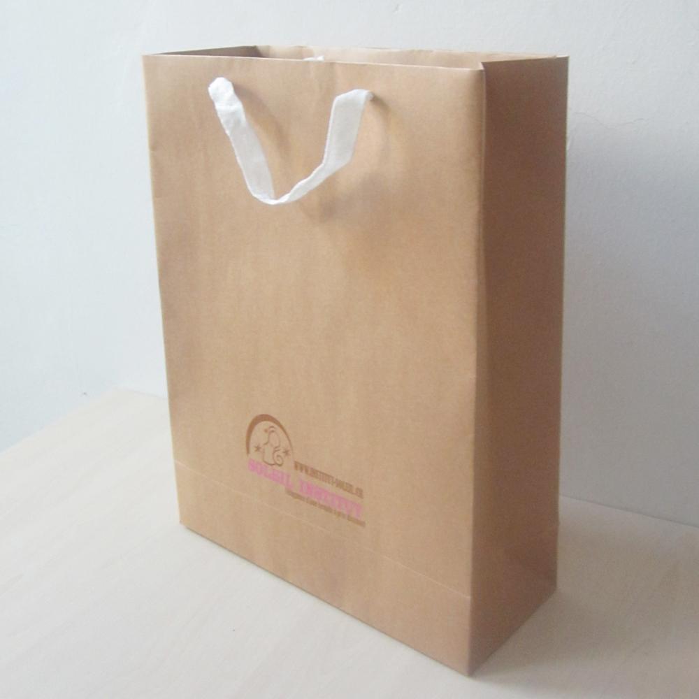200pcs/lot 40*30*12cm art paper bag nature color with logo,free shipping brown tote bag,shopping bag craft paper,200g(China (Mainland))