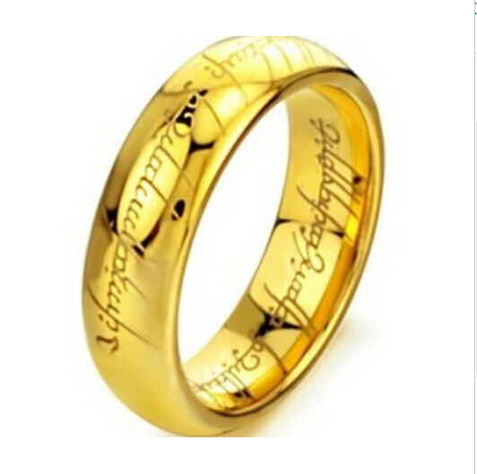 Gold & Silver Ring Vintage Jewelry Laser Engraved Stainless Steel Chain Ring For Men & Women wedding jewelry(China (Mainland))