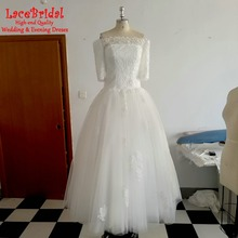 Real Stunning Ball Gown Applique Lace Wedding Dresses 2016 with Sleeves Plus Size Long Bridal Gowns vestidos de noivas BLW24(China (Mainland))