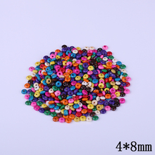 4mm*8mm Multi Color Natural Wooden Abacus Beads 600pcs/Lot Straight Hole Flat Beads For Kids DIY Jewelry Making Decoration Hot