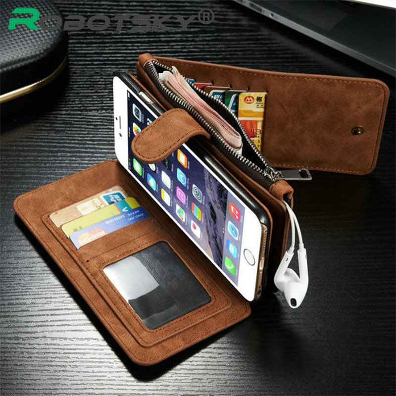 """GMFIVE i6 6s Genuine Leather Wallet Case For iPhone 6 6S 4.7 Inch Phone Bag Cover For iPhone 6S Plus 5.5"""" Stand Card Slot(China (Mainland))"""