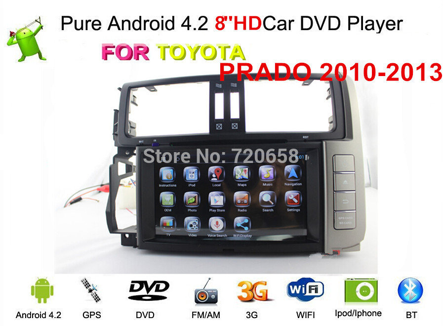Pure Android 4.2 FOR Toyota Prado 2010-2013 150Car DVD GPS Navigation with 1.6G CPU, Radio, IPOD, Built-in Wifi+Free 8G Map Card(China (Mainland))