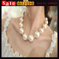 Women s Crystal Alloy Golden Rhinestone Big Imitation Pearl Beads Necklace Rhinestone Necklace Chain Jewelry for
