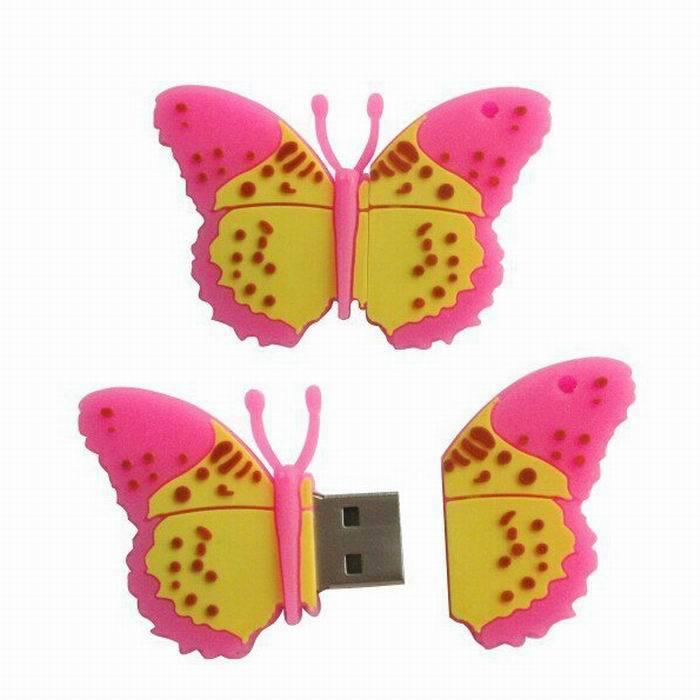 Wholesale Promotion New Fashion Popular Beautiful butterfly USB Genuine 4GB 8GB USB 2.0 Memory Flash Stick Pen Drive LU1032(China (Mainland))