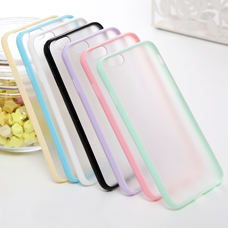 Candy Color Scrub TPU+PC Transparent Edge Cell Phone Case For iphone 6s 6 Plus 5 5s Cover For iPhone 6 Case Free Shipping(China (Mainland))