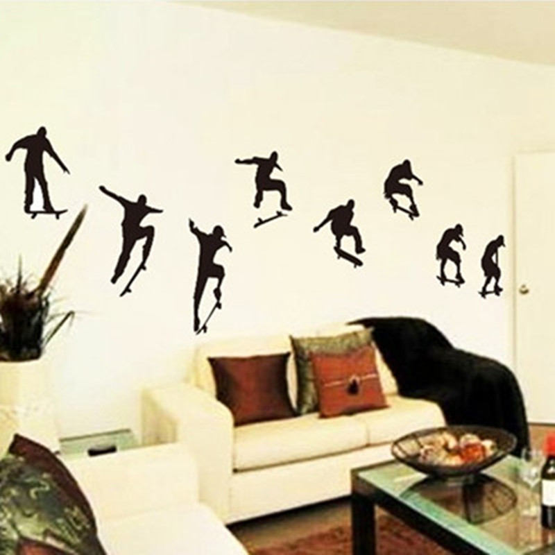 teenagers playing skate wall art stickers diy 3d vinyl