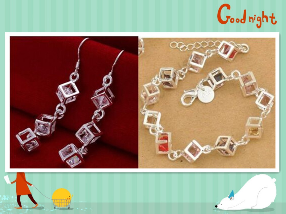 2016 New Happiness Rubik Cube Jewelry Set Real Pure Fine 925 stamped silver plated Jewelry Cubic Zirconia Bracelet&Earrings Sets(China (Mainland))