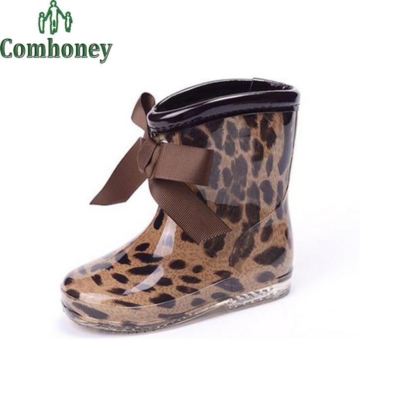 Baby Kids Rain Boots Polka Dot Leopard Girls Children Rain Shoes Bow Waterproof Child Rubber Galoshes Autumn Winter Snow Boots<br><br>Aliexpress