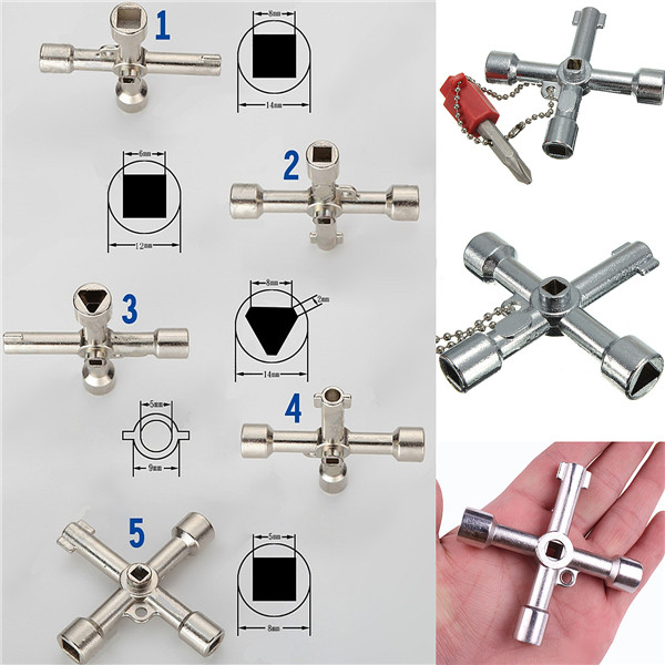 5 In 1 Cross Switch Key Wrench With Accessories Universal Square Triangle Train Electrical Cupboard Box Elevator Cabinet Alloy(China (Mainland))