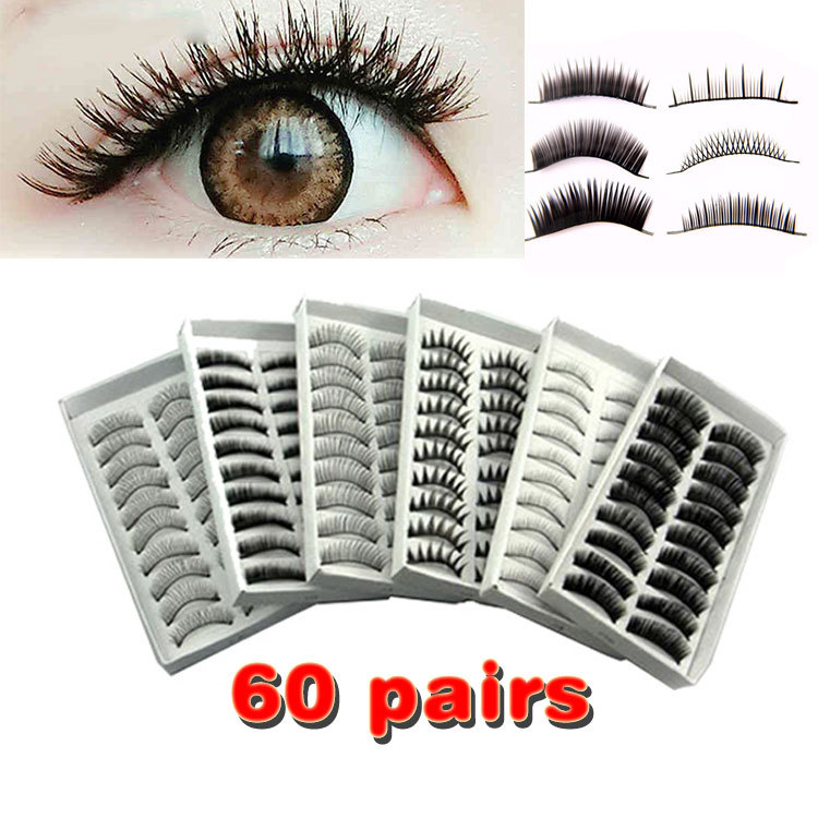 Wholesale 60 Pairs False EyeLash Makeup Handmade hair Natural Fashion False Eyelashes Soft Long Eye Lash Cosmetic Free shipping(China (Mainland))
