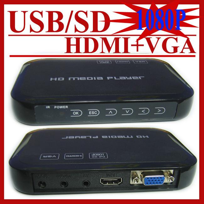 Free Shipping 3D Full HD 1080P USB External HDD Media Player with HDMI VGA AV SD support MKV H.264 RMVB WMV(Hong Kong)