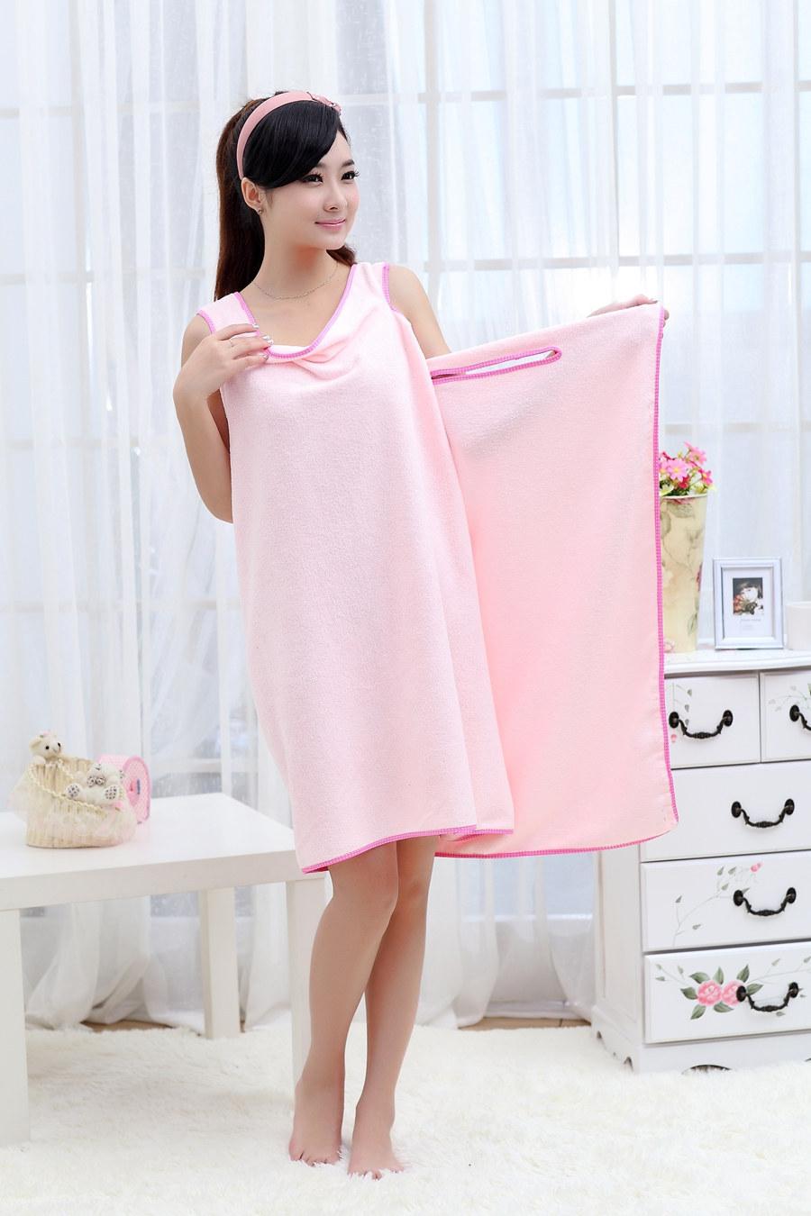 Unisex Microfiber Wearable Towel Bathrobe Spa Fast Dry Washclothing Wrap Towel Bath Dress Pink(China (Mainland))