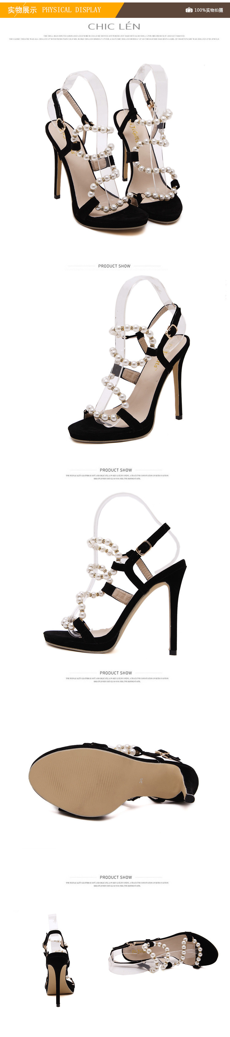2016 Luxury Pearl Decorated High-heeled Sandals Beaded Women's Open Toe Stiletto Heels Black Office Shoes