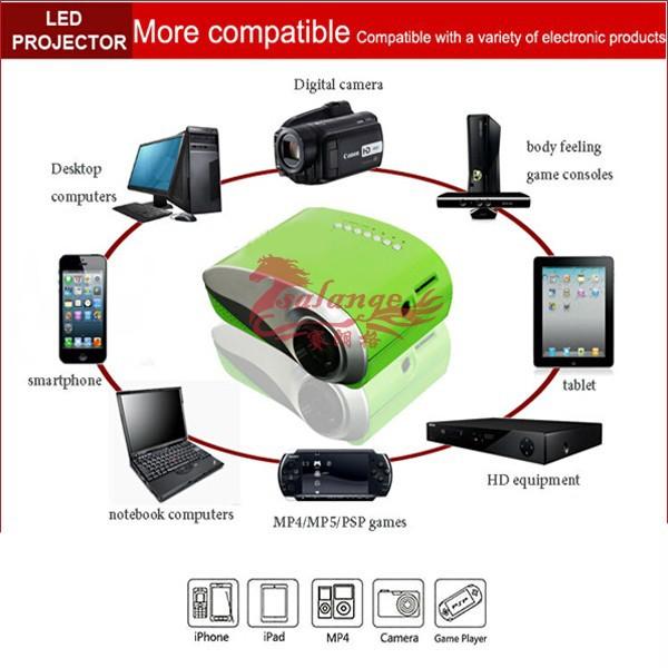 Newest 200lumens 3D Beamer LED Electric Zoom Portable Video Pico Micro Small Mini Projector HDMI USB AV VGA TV Tuner for Xmas(China (Mainland))