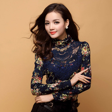 New 2015 Women Fashion long sleeve turtleneck floral print body women lace blouse shirts blusa femininas feminine female 112i40(China (Mainland))