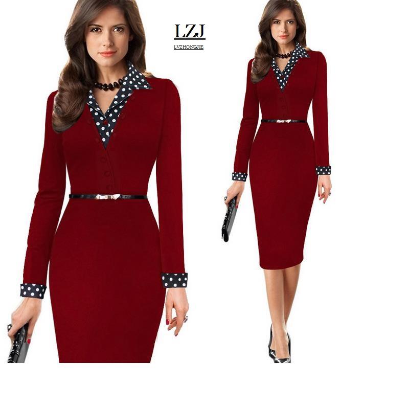 ... plus size pencil dress deep V collar stitching 36020170316020659183  36020170316020615393 36020170316020325754 9456fdcc7e7c