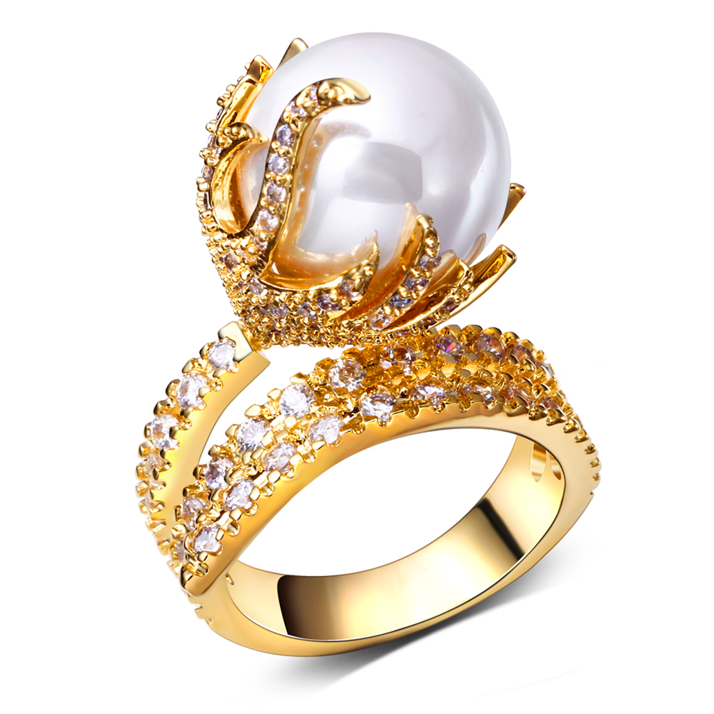 Fashion women Rings gold plated with white CZ & Imitation pearl finger Ring high quality party rings Free shipment full size(China (Mainland))