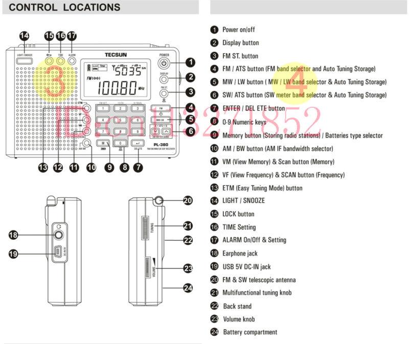 Tecsun PL 380 PL380 radio Digital PLL Portable Radio FM Stereo LW SW MW DSP Receiver
