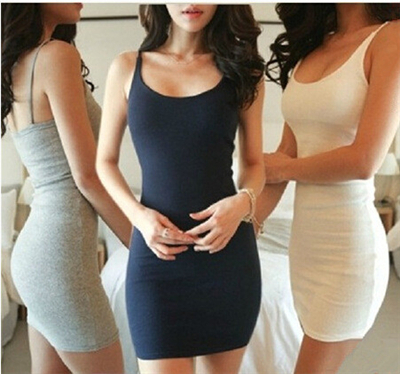 2015 Summer Brand New Sexy A Line Strap Elastic Tight Pencil Mini Bodycon Bottoming Dress Women Clothing Bandage Plus Size Solid(China (Mainland))