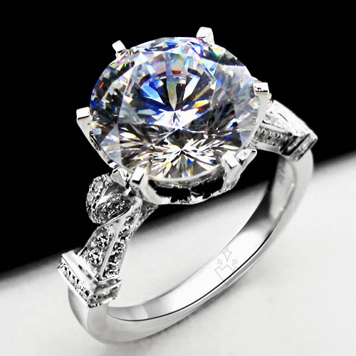 Great Design 4CT Test Positive Certified Moissanite Women Ring Love Promise Fine Jewelry Genuine Solid White Gold AU585 Ring(China (Mainland))