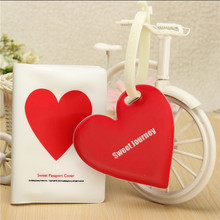 Luggage Suitcase Bags Tag Mixproof Waterproof Style Cloud Heart Pattern passport holder + luggage tag + silicone strap wholesale(China (Mainland))